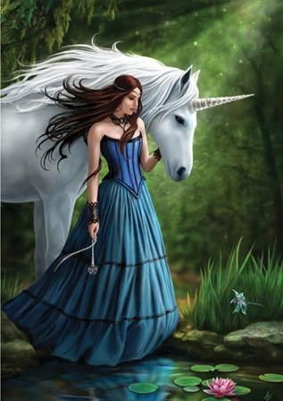 (Product Code: rAN33) Contemplation Unicorn Card, Anne Stokes Unicorns Cards - EnchantedJewelry