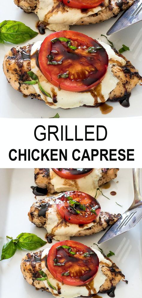 Juicy chicken breast topped with mozzarella cheese, tomato, basil and a homemade balsamic reduction. This delicious weeknight dinner idea is ready in just 30 minutes. Perfect for the whole family - kids love it too! Cooking Recipes, Healthy Recipes, Healthy Grilled Chicken Recipes, Grilled Food, Chicken Caprese Recipe Easy, Sides For Grilled Chicken, Easy Grill Recipes, Recipes For The Grill, Health Chicken Recipes