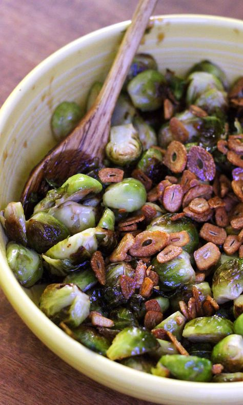 Garlic-infused olive oil roasted brussels sprouts are tossed with a balsamic honey syrup, leaving them crispy on the outside and oozing with flavor on the inside.