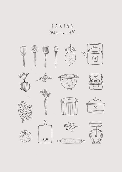 Ryn Frank is a freelance illustrator, specialising in hand drawn illustrations. Bullet Journal Ideas Pages, Bullet Journal Inspiration, Recipe Book Design, Diy Recipe Book, Recipe Book Covers, Family Recipe Book, Bakery Logo Design, Bakery Branding, Food Illustrations