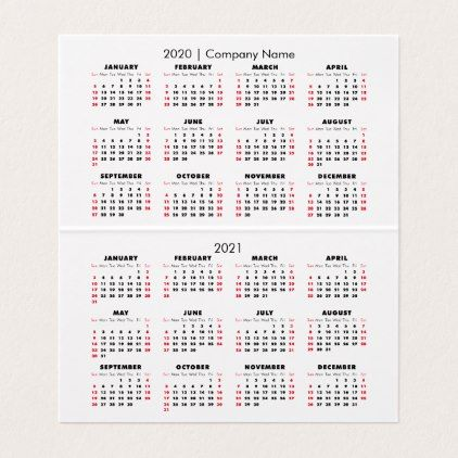 Simple 2020 Calendar 2021 Calendar Company Name Business Card Zazzle Com In 2021 Company Business Cards Business Cards Simple 2021 Calendar