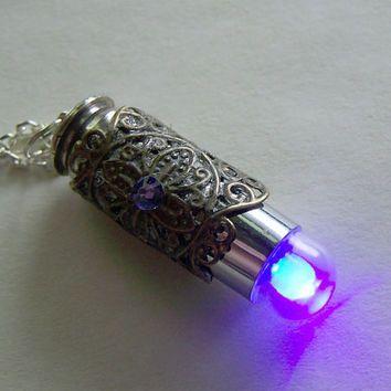 Ultraviolet Light UP LED Filigree Bullet Jewelry Pendant Necklace
