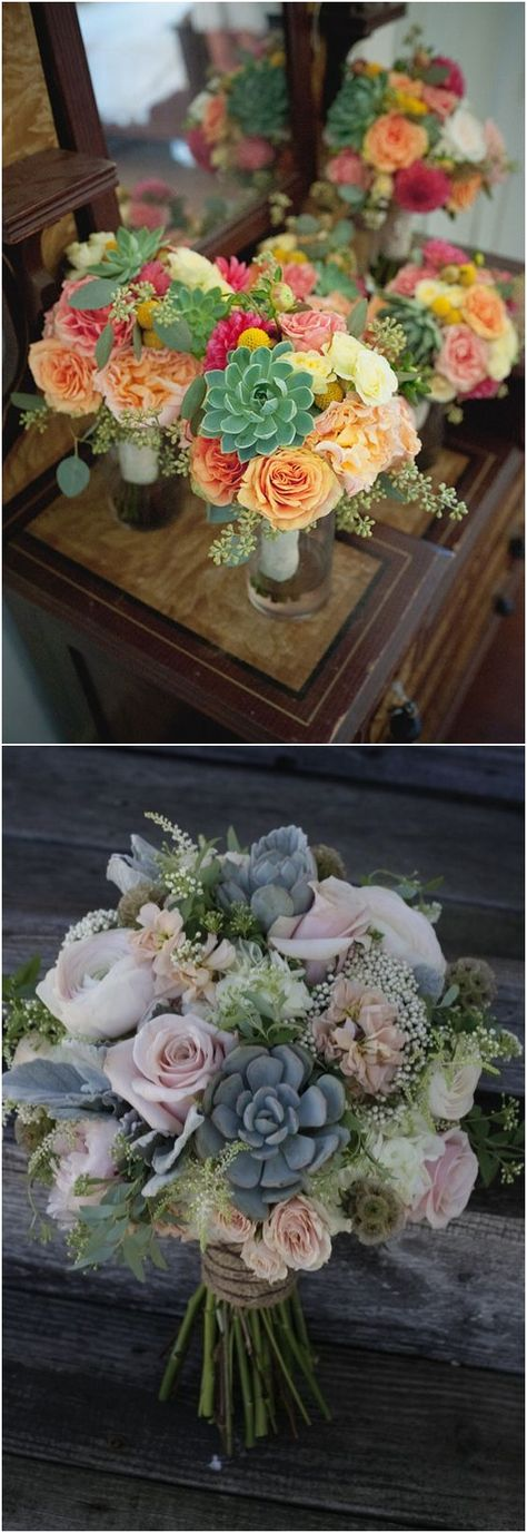 Rustic Succulent Wedding Bouquets #weddings #bouquets #weddingbouquets #weddingideas #weddingflowers #rar #deerpearlflowers