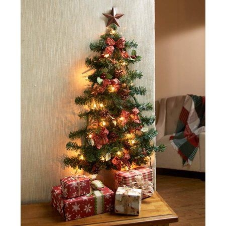 Lighted Christmas Wall Tree With Ribbons Country Star Walmart Com Wall Christmas Tree Christmas Tree Decorations Wall Mounted Christmas Tree