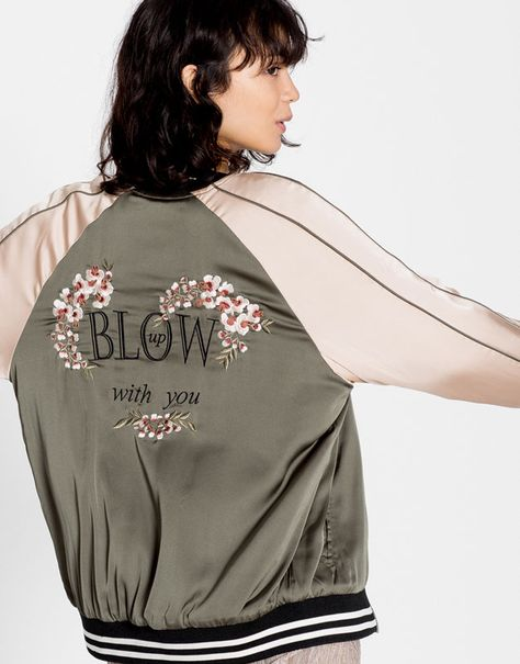 Bomber Jacket With Floral Embroidery Coats And Jackets Clothing Woman Pull Bear Mexico
