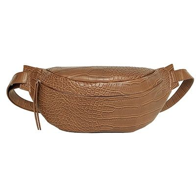 Crocodile pattern pu leather waist bags solid color funny