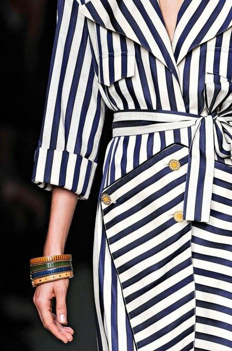 cute navy striped trench w/ gold buttons
