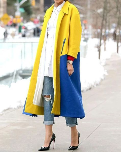 Fashion Lapel Color Blocking Plain Windproof Woolen Long Coat – Prilly outwear fashion outwear jacket warm coat outfit coats for women #fallcoats#warm#casualcoats