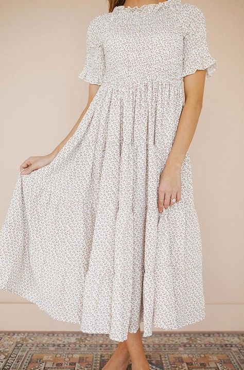Taylor Cream Floral Midi Dress