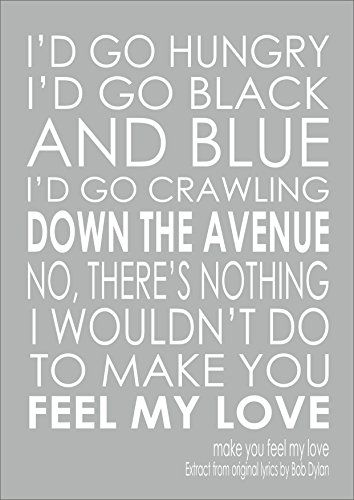 Make You Feel My Love Adele Bob Dylan Print Poster Quote Https