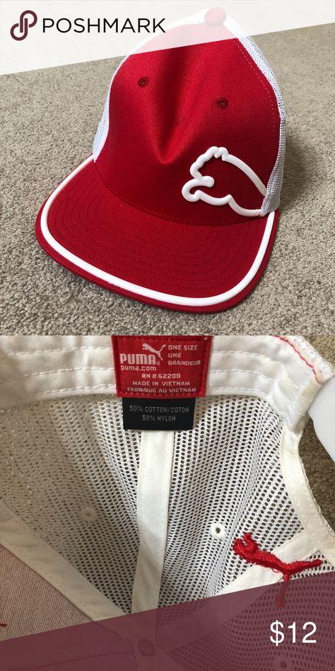 b232ab17639 Red   White Puma Ballcap Snap back. 50% cotton 50% nylon Puma Accessories  Hats