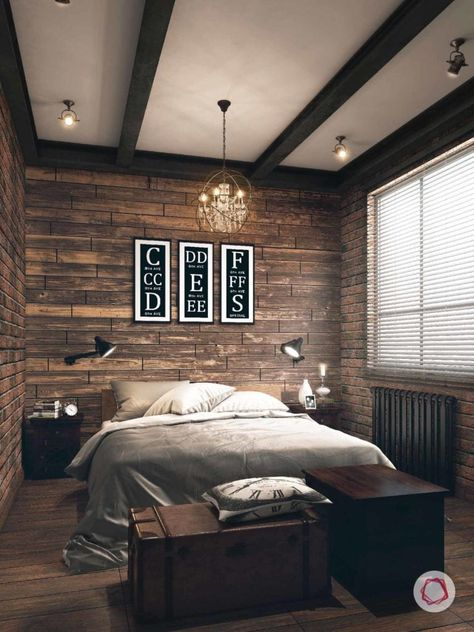 Hang a beautiful chandelier to soften the mood in your sexy bedroom. Industrial Bedroom Design, Industrial Chic Decor, Interior Design Books, Condo Interior, Contemporary Bedroom, Modern Bedroom, Bedroom Decor, Design Bedroom, Bedroom Rustic