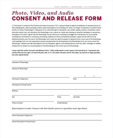 Video Release Consent Form Template Picture Photo Uk Romantic