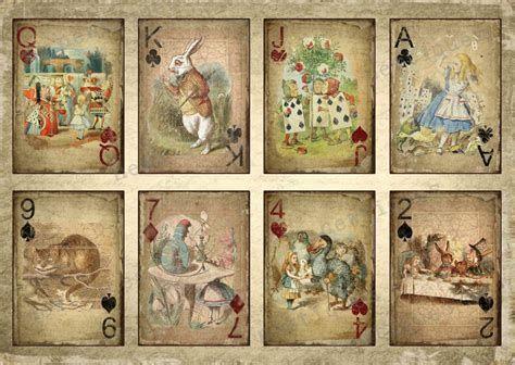 Free Junk Journal Vintage Printables Alice In Wonderland Printables Printable Playing Cards Alice In Wonderland