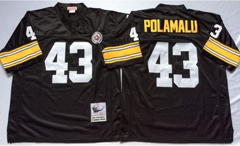 Hot Mitchell And Ness Steelers #43 Troy Polamalu Black Throwback  for cheap