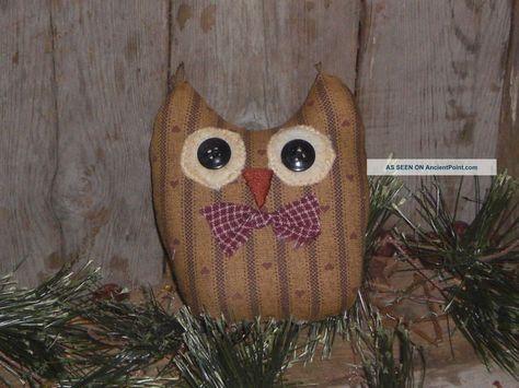 "Country Primitive 7/"" Stuffed Burlap Owl Shelf Sitter"
