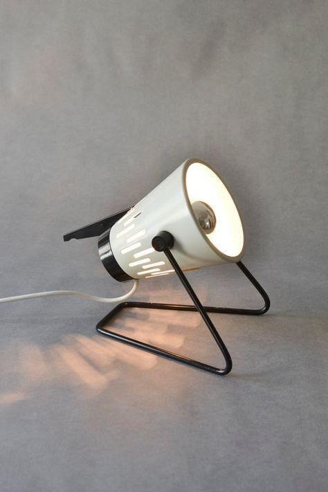 Lampe Vintage noir blanc est-allemands de RDA âge atomique ère spatiale