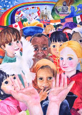 """""""The Power of Peace"""" 2009-2010 Grand Prize Winner, by 13-year-old Yu-Min Chen of Multiple District 300."""