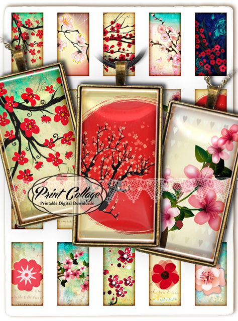 Instant Download Stickers Blooming Sakura 4x4 inch tiles Digital Collage Sheet for Coasters Magnets Greeting Cards Scrapbooking