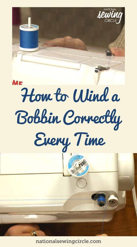Learn tips for how to wind a bobbin correctly every time, including how to hold your thread, what speed to wind at and what a good bobbin should look like. Sewing Lessons, Sewing Class, Sewing Tools, Sewing Basics, Sewing Hacks, Sewing Tutorials, Small Sewing Projects, Sewing Projects For Beginners, Sewing Circles