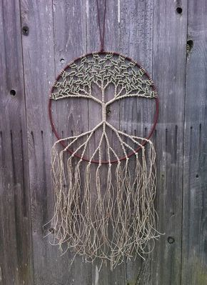 Evergreen Bohemians Tree of Life looks great in a window, living room or bedroom. This macrame wall hanging is made of all natural hemp and
