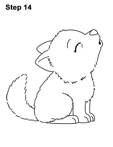 Draw a Cartoon Bat Wolf Pup Howling 14 Cute drawings Cute wolf drawings Cartoon wolf