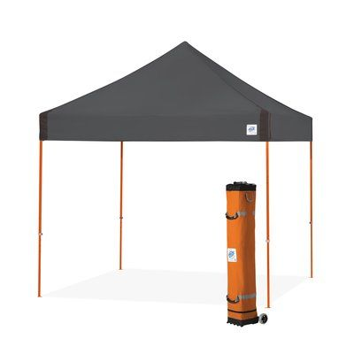 E Z Up Vantage 10 Ft W X 10 Ft D Steel Pop Up Canopy Roof Color Stell Grey Frame Finish Steel Orange Shade Tent Portable Shade Canopy