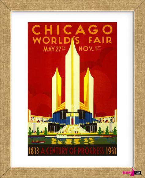 VINTAGE 1933 CHICAGO WORLDS FAIR TRAVEL A4 POSTER PRINT