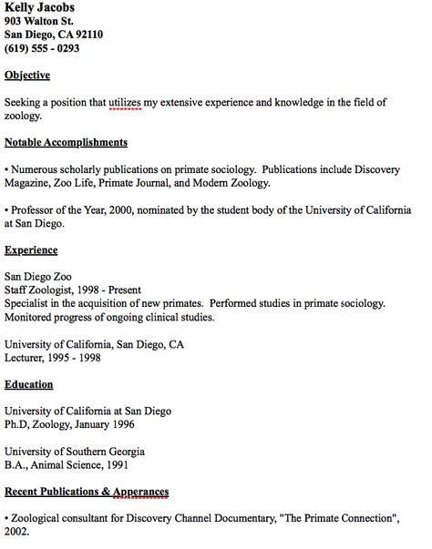 Example Zoology Resume -    resumesdesign example-zoology - san diego resume