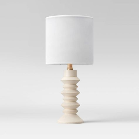 Stacked Disk White Table Lamp