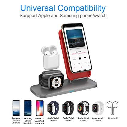 Simpfun Chargeur Sans Fil W01 Station De Charge Rapide Wireless Qi Pour Apple Watch 4 3 2 1 Airpods Iphone Xs Xr X 8 Samsung Phone Mobile Phone Stands Phone