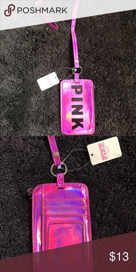 VS PINK Victoria/'s Secret Lanyard ID Badge Holder Wallet Zip Up BLUE NEW