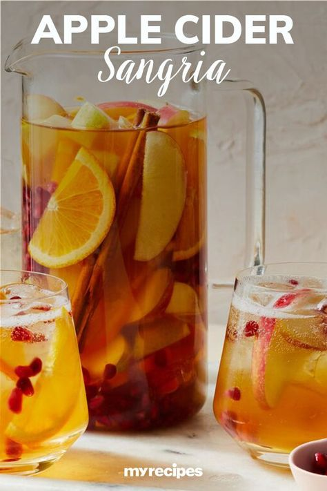 Our Apple Cider Sangria has just the right amount of booze, and it's super simple to put together, making it the perfect fall cocktail. Apples are seasonal and delicious, and they're even better when soaked in the sangria for several hours. #drinks #drinksrecipes #drinkrecipes #drinkinspiration Alcohol Drink Recipes, Sangria Recipes, Winter Drinks, Holiday Drinks, Cocktail Drinks, Alcoholic Drinks, Fall Cocktails, Apple Cider Sangria, Cheers