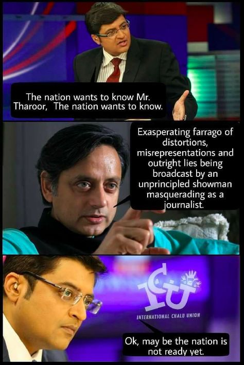 Shashi Tharoor S Extensive Vocabulary Became An Uproarious Meme Last Night Thanks To Arnab Goswami Arnab Goswami Funny Instagram Memes Rapper Quotes