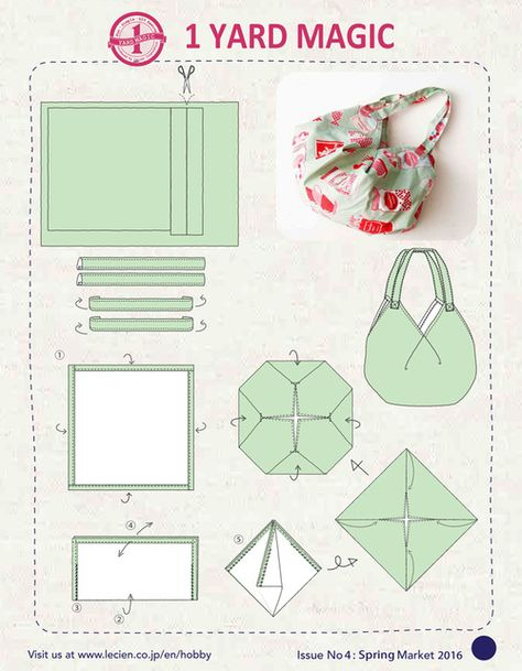 1 Yard Magic Hobo Bag Sewing Pattern by Lecien Yard Magic Hobo Bag Schnittmuster von Lecien Fabrics! 1 Yard Magic Hobo Bag Sewing Pattern by Lecien Fabrics! Bag Sewing Pattern, Bag Pattern Free, Sewing Patterns Free, Free Sewing, Wallet Pattern, Tote Pattern, Origami Bag, Fabric Origami, Sewing Hacks