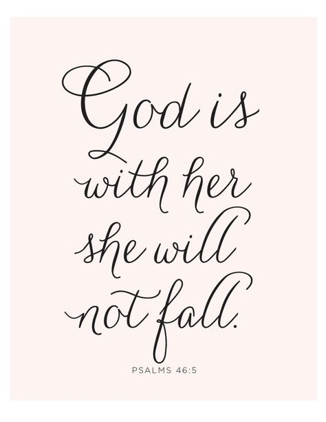 Psalms 46:5 Printable - Instant Download - Bible Verse - God Is Within her - She will not Fall - Spiritual - Christian Art