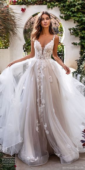 Moonlight Couture fall 2019 bridal sleeveless lace straps sweetheart neckline embellished bodice a line ball gown wedding dress (1) romantic princess tiered skirt chapel train blush mv -- Moonlight Couture Fall 2019 Wedding Dresses | Wedding Inspirasi #wedding #weddings #bridal #weddingdress #weddingdresses #bride #fashion  ~