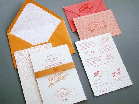 Charles + Merrill's Ombre Letterpress Wedding Invitations