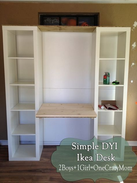 Create Your Own Desk With Ikea Expedite And Some Personal Touches Simple Diy Makeover Project With Images Built In Desk Bookshelf Desk Desk Storage