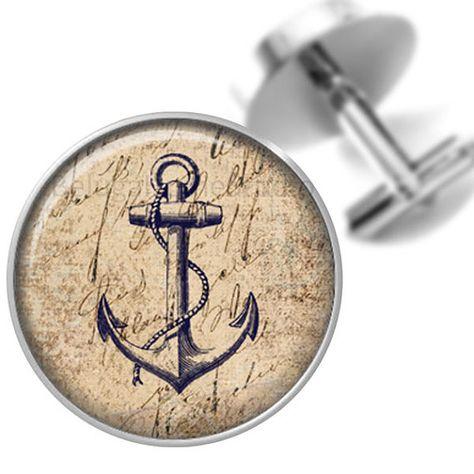 Silver cufflinks # handicraft # Cufflinks-Anchors
