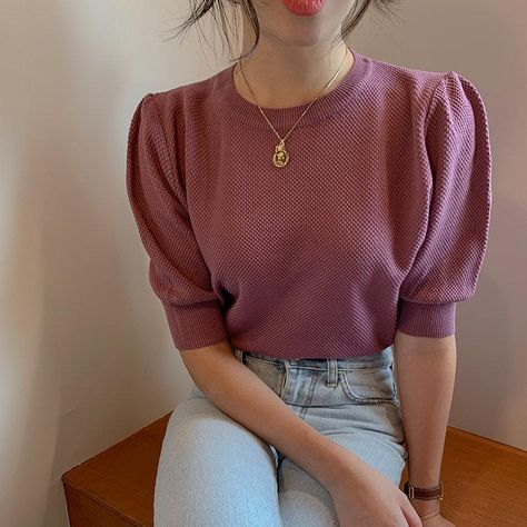 KOREAN RETRO KNITTED PUFF SWEATER - Purple / One Size