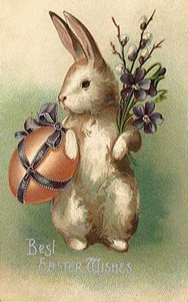 Victorian illustration: easter bunny.