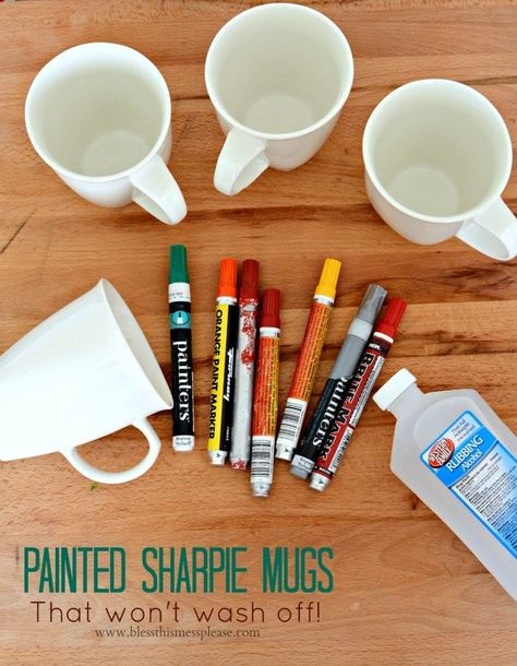 Painted Sharpie Mugs (that won't wash off!) — Bless this Mess Handmade is so my jam, and I'm excited to bring you a whole week of simple handmade gift tutorials that you can that you can give this year! I'm starting the week off with Painted Sharpie Mug Crafts, Sharpie Crafts, Diy Sharpie Mug, Sharpie Doodles, Kids Crafts, Tape Crafts, Sharpies On Mugs, Ceramic Mug Sharpie, Sharpie Coffee Mugs