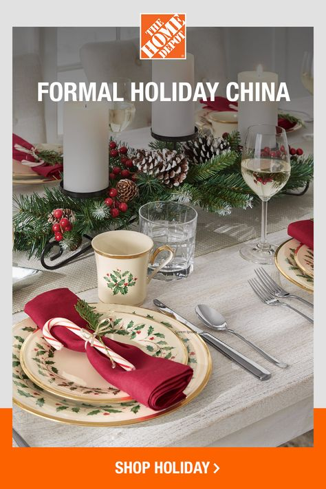 We're spending more time at home than ever before, so make the holidays extra special this year. Tap to shop dinnerware and dining essentials online at The Home Depot and you'll have the most stylish Christmas table.