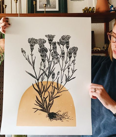 I love this pretty block print of the whole entire plant Linocut Prints, Art Prints, Block Prints, Intaglio Printmaking, Kids Printmaking, Lino Art, Watercolor Flower, Linoprint, Ink Illustrations