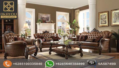 set sofa ruang tamu mewah klasik eropa brown   set ruang