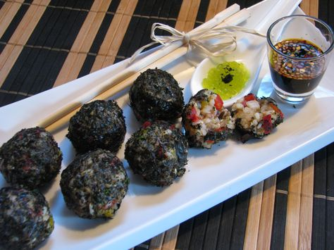 Sushi Balls Rolled In Nori With Wasabi Caviar And Sweet Spicy