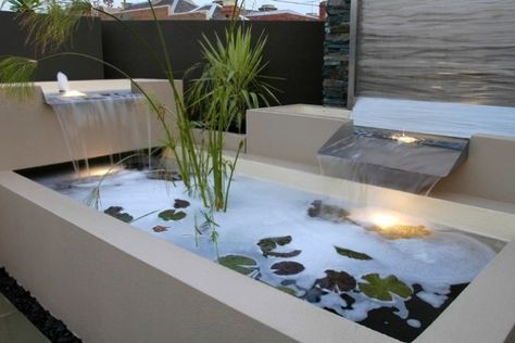 zen dachgarten Exotisches Wasserbecken-Terrasse Gestaltung - terrassengestaltung mit wasserbecken