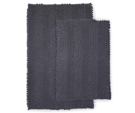 Just Home Gray Chenille Bath Rug Set 2 Pack Rugs Grey