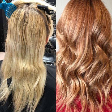 Get the details for this makeover on a lifelong blonde client looking to fire up her color. Perfect Blonde Hair, Red Blonde Hair, Platinum Blonde Hair, Dark Hair, Copper Blonde Balayage, Light Red Hair, Chelsea Houska Hair, Make Up Gesicht, Feathered Hairstyles
